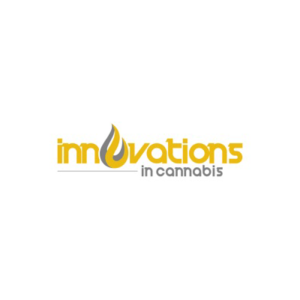 Innovations in cannabis podcast, yellow grey text logo