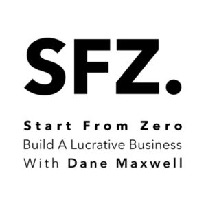 SFZ Black letters, logo for Start from zero podcast with Dane Maxwell