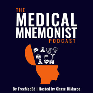 Dark blue background profile of the opened orange head out of which ideas are poping out logo for Medical Mnemonist Podcast