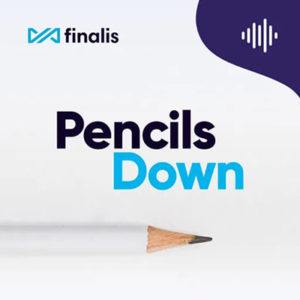 Pencils Down podcast, white background with white pencil and podcast name