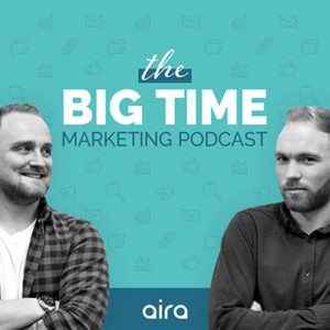 Two autors portrait in black and white on the blue background - cover for the Big Time Marketing podcast