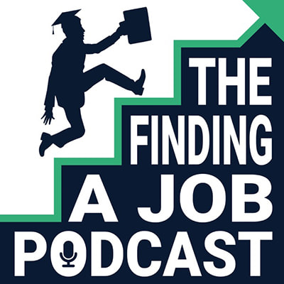 Graduate escanding stears with briefcase, logo of the Finding a Job Podcast